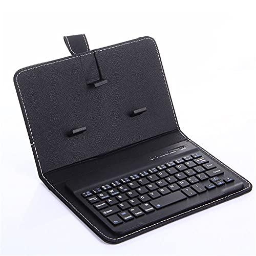 Funda De Cuero con Teclado Bluetooth para TeléFono MóVil, Teclado InaláMbrico Bluetooth De 7 Pulgadas, EspecificacióN Opcional, Tecla General De Bluetooth (Negro)