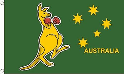 UKFlagShop 0,9 x 0,6 m (90 x 60 cm) Australie australien de boxe kangourou Vert 100% polyester Drapeau Bannière Idéal pour le Club d'école Business Décoration de fête