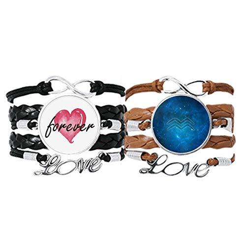 Bestchong Starry Night Acuario Zodiaco Constelación Pulsera Correa de mano Cuerda de cuero Forever Love Wristband Set doble