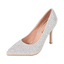 Silver-2 Rhinestone Glitter Formal Heels Shoe