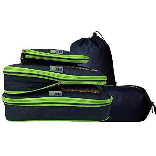 Big Planet 5 Piece Set - Compression Packing Cubes For Travel Laundry & Shoe Organizer Bags - Water Resistant Packing Cubes Organize & Compress...