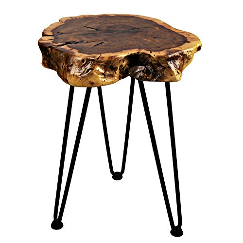 Hurricom Natural Wooden Edge End Table, Rustic Old Round Wood Side Table Nightstand Accent Table with Hairpin Legs, 16 inch Tall
