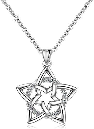 OlovdHit Collar 925 Cadena De Damas De Plata Estrella Y Luna con Cadena De Clavícula De Diamantes Colgante Collar Largo De Plata Aniversario De San Valentín