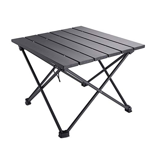 SOVIGOUR Aluminum Folding Camping Table Portable Compact Roll Up Camp Table 3 Size Lightweight Picnic Table with Carry Bag for Hiking BBQ Fishing and Travel L