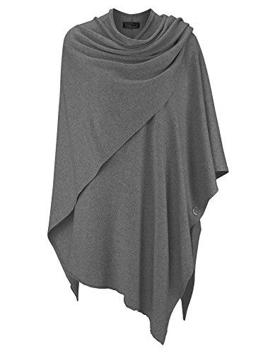 Zwillingsherz Poncho-Schal mit Kaschmir - Hochwertiges Cape für Damen - XXL Umhängetuch und Tunika mit Ärmel - Strick-Pullover - Sweatshirt - Stola für Sommer und Winter von Cashmere Dreams (d.grau)