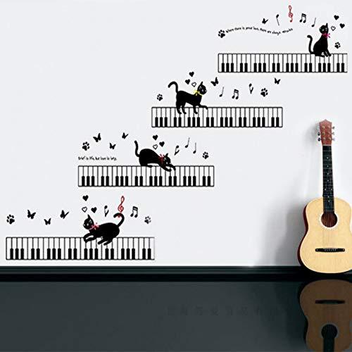Gato que tocará el piano pegatina de pared vinilo impermeable Diy música gato calcomanías de pared para habitación de niños sala de música arte decoración murales