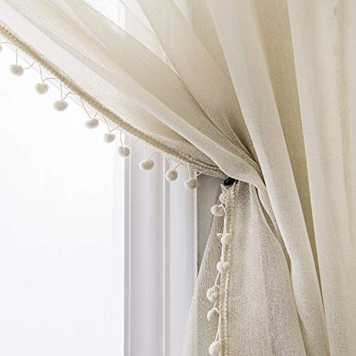 Selectex Linen Look Pom Pom Tasseled Sheer Curtains - Rod Pocket Voile Semi-Sheer Curtains for Living and Bedroom, Set of 2 Curtain Panels (52 x 63 inch, Nature)