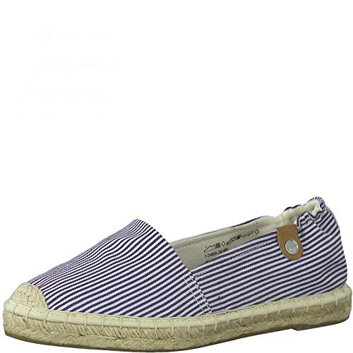 Tamaris Damen 1-1-24605-26 Flacher Slipper, Espadrille, navy stripes, 38 EU