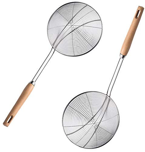DMFSHI Skimmer, 2 PCS Strainer Spoon, Stainless Steel Wire Skimmer Spoon with Wooden Handle, Kitchen Spider Strainer Spoon for Hot Pot, Frying, Noodles and Oil Filtering
