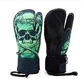Guantes de Nieve de esquí Profesionales para Hombre y Mujer con Pantalla táctil de Snowboard a Prueba de Agua - Green Skull, M