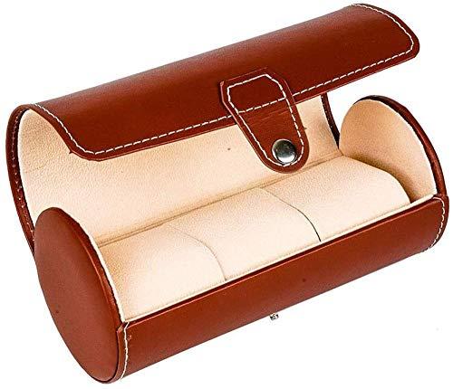 Künstliches Leder Europäischer Stil Zylinder 3 Grid Uhrenbox Kohlefaser High-End Uhrenbox Schwarz Braun verschleißfest und tragbare 1 stücke-Braun Incomparable