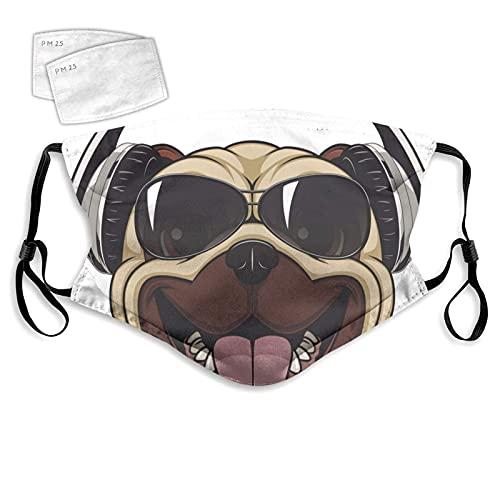 Paño facial para hombre y mujer, divertido carajo con gafas de sol y auriculares, boca fría a prueba de polvo, doble protección