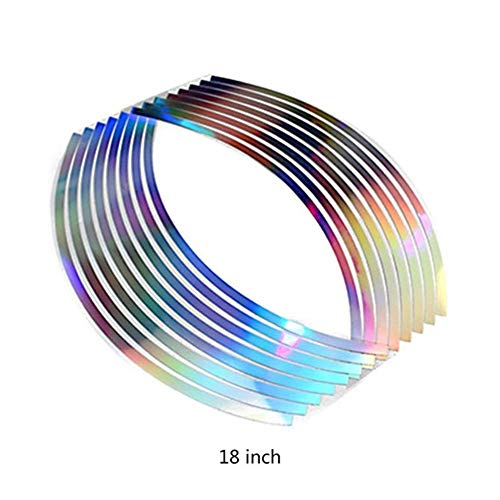 DYHM Motorrad Aufkleber 16pcs PVC 10/12/14/18 Zoll Mode Durable Qualitäts-bewegliches Rad Felgenband for Motorrad Car Reflektierende Streifen (Color : 18 inch)