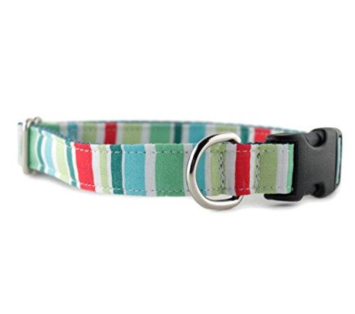Striped Dog Collar - Holiday Stripe Dog Collar - Green Blue and Red Stripe Dog Collar - Pet Collar - Holiday Collar - Christmas Collar