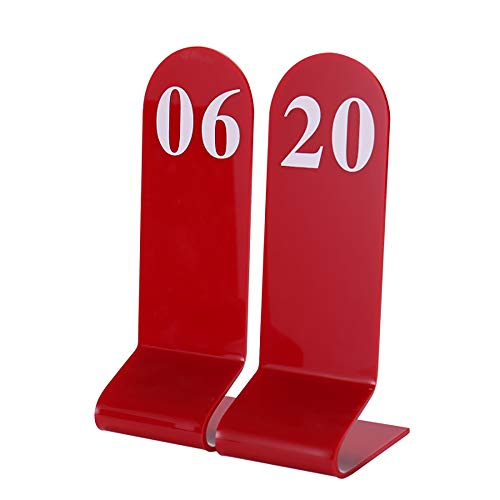 Aspire 10PCS Acrylic Table Numbers, Tent Style Numbers Sign, Double Sided Table Number Card for Restaurant-Red-Number 51to60
