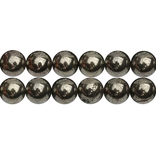 Cuentas de pirita naturales de 6 mm, piedras preciosas redondas de pirrotita de chakra, vendidas por una hebra APX, 60 unidades, tamaño del agujero: 1 mm