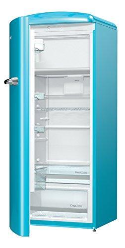 Gorenje ORB 153 BL-L Kühlschrank mit Gefrierfach / A+++ / Höhe 154 cm / Kühlen: 229 L / Gefrieren: 25 L / Blau / DynamicCooling-System / LED Beleuchtung / Oldtimer / Retro Collection