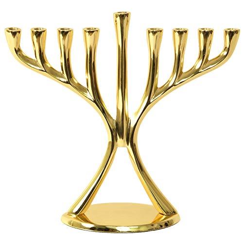 Contemporary Hanukkah Menorah, Polished, Non-tarnishing, Holds Most Hanukkah Candles (Gold)