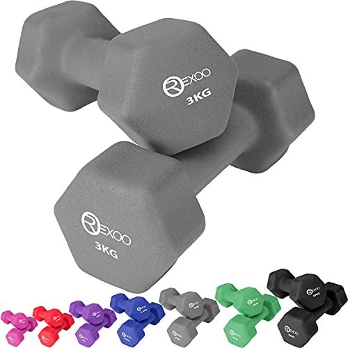 REXOO Neopren Kurzhanteln Hanteln, Gewichte 2er Set Hantelset Fitness Aerobic 2X 3,0 kg grau