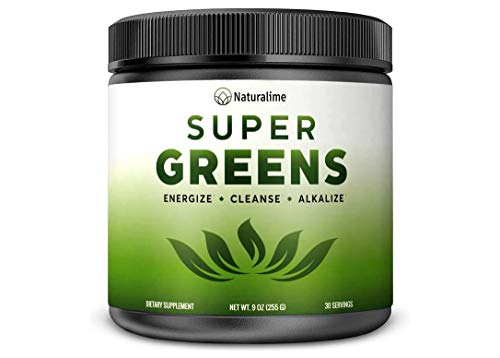 Naturalime Super Greens - Green Superfood Powder | 100% USDA Organic Non-GMO Vegan Supplement | 30 Servings | 20+ Whole Foods (Spirulina, Elderberry & More - Vegan Juice Supplement