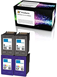 OCProducts Refilled Ink Cartridge Replacement for HP 56 and HP 57 for PSC 1315 PSC 2410 PSC 1110 PSC 2175 Officejet 6110 Deskjet 450 PhotoSmart 7150 7260 Printers (2 Black 2 Color)