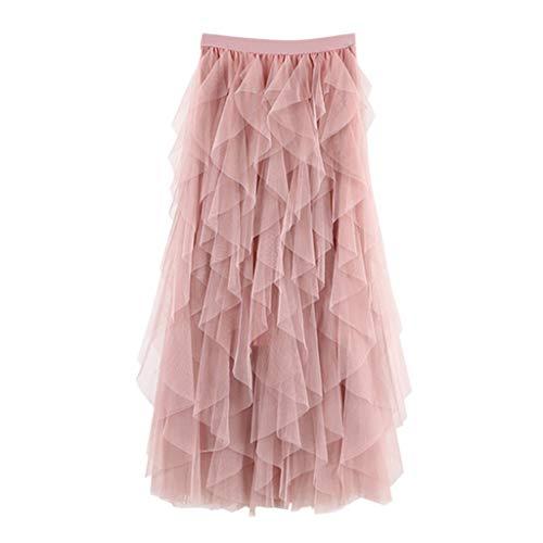 TUDUZ Faldas Mujer Largas Verano Casual para Cómoda De Tul De Cintura Alta Falda Plisada del Tutú De Midi (Rosado, Free Size)