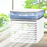 Small Portable Air Conditioners Personal AC Fan with Humidifier &3 Wind Speeds&7 Color Nightlight   Mini Evaporative Air Cooler Desktop Air Conditioner for Room Office