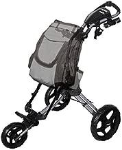 Rovic RV1D 3-Wheel Disc Golf Push Cart | Fits All Disc Golf Backpacks (Silver/Black)