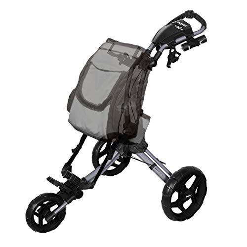Rovic RV1D 3-Wheel Disc Golf Push Cart | Fits All Disc Golf Backpacks (Silver/Black)