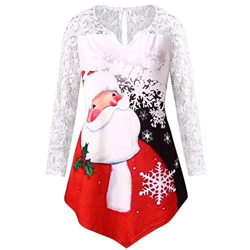 t Shirt Bedrucken t Shirt Damen Longsleeve Vintage t Shirt drucken T-Shirt Tops Plus Size Spitze Patchwork Asymmetrische Frohe Weihnachten Gedruckt (3XL,Schwarz)