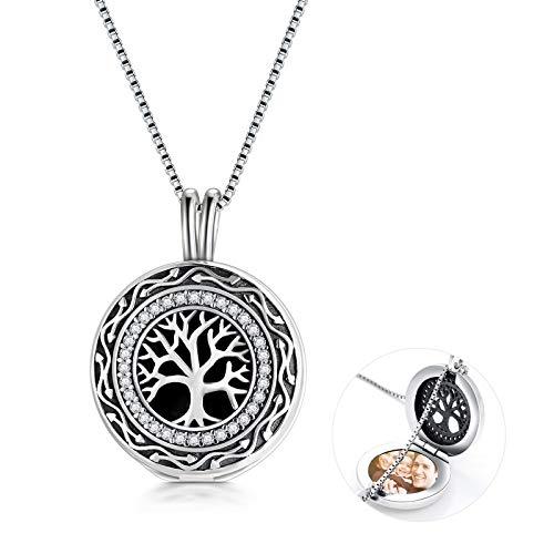 Lebensbaum Damen Anhänger 925 Sterling Silber Medaillon Foto Bilder Halskette Silber Damen Kette mit Gravur Amulett Schmuck Geschenk für Frauen Damen Kette mit Anhänger Baum des Lebens
