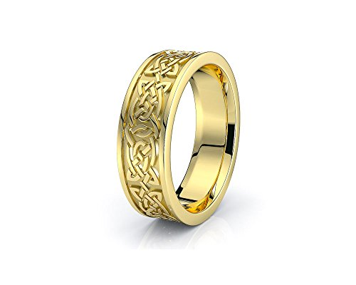 10K White Yellow Gold 6mm Celtic Knot Wedding Band Rings