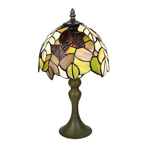 Tokira Vintage Tiffany Stijl Tafellamp, 8-inch Gebrandschilderd Glas Esdoornblad Patroon Handgemaakte Slaapkamer Nachtkastje Decoratie Lamp, LED Nachtlampje Voor Woonkamer