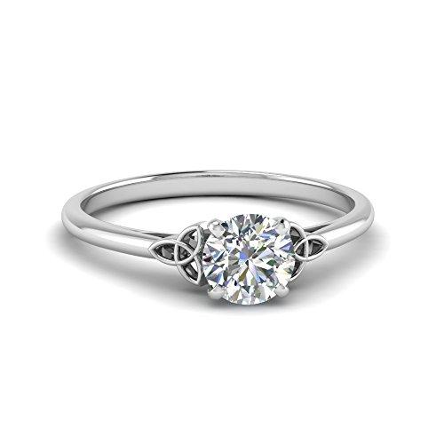Sterling Silver 1 Carat Round Brilliant Shape F Color VVS Clarity Excellent Cut Grade Moissanite Celtic Solitaire Engagement Ring (10.5)