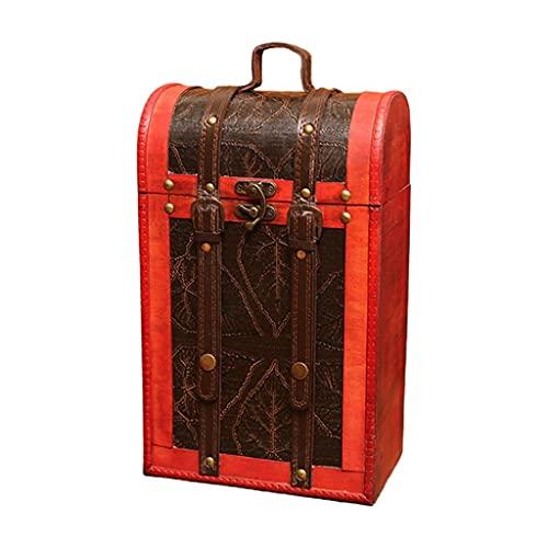 NJBYX Caja de madera de madera de madera vintage cajas de regalo de embalaje doble botella de almacenamiento portador (Color : B, Size : 8.66x5.12x14.17in)