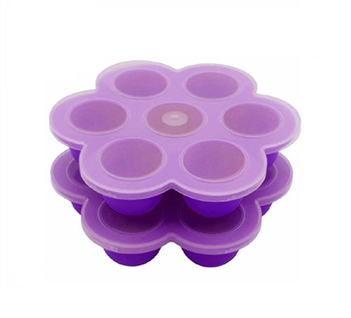 Egg Poachers Silicone Egg Bites Molds - Fits Instant Pot 5,6,8 qt Pressure Cooker, 7Cups Baby Food Storage Freezer Trays with Silicone Clip-On Lid (Purple)