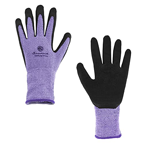 SUNCHANT 12Pairs Gardening Gloves for Women and Men, Breathable and Barehand Sensitivity, Latex Coated Work Gloves for Yard Work, High Elastic fits Most Size (Purple)