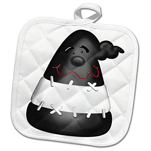 3dRose Black and White Frankenstein Halloween Candy Illustration - Potholders (phl_327362_1)