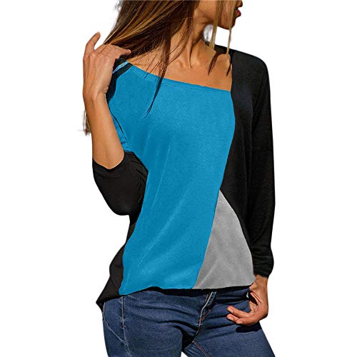 Blusa Moda Patchwork Casual para Mujer Sudadera con Capucha Tallas Grandes Color Block Tallas Grandes O-Neck Manga Larga Camiseta Tops Invierno Abrigos Liquidación de Venta SHOBDW (Azul Claro,XL)