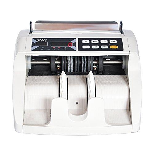 Aibecy Compteur de billets Euro Multi-monnaie Caisse Enregistreuse Automatique Détecteur de faux billets, Affichage Externe avec UV MG Détecteur de Contrefaçon pour EURO/USD/GBP/AUD/JPY, FT-2300