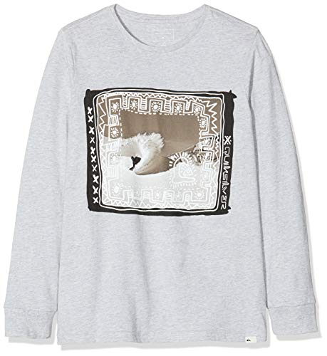 Quiksilver Jungen Double Threat-Longsleeve 8-16 T-Shirt, Light Grey Heather, M/12