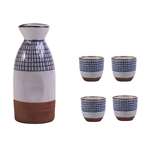 Juego de sake japonés, 5 piezas de copas de vino pintadas con diseño de rayas retro, proceso de alta temperatura, insípido, sin decoloración, antideslizante, utilizado en la sala de estar, el comedor