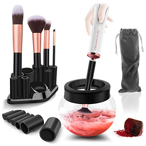 Urban Butterfly Electric Makeup Brush Cleaner Spinner, Deep Cosmetic Brush Cleaner Mat with 8 Size Rubber Collars, White