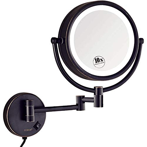 GURUN 8.5 Inch Magnifying Makeup Mirror with 3 Tones LED Lights,Double Sided Vanity Mirror with 10x Magnification,Plug Powered M1809DO (Oil-Rubbed Bronze/10X)