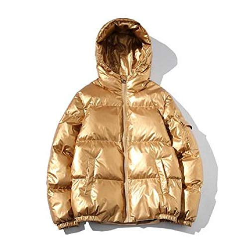 CVMFE Chaqueta de plumón para hombre, con capucha, talla M, 5XL, invierno, abrigos de algodón, para mujer, parka gruesa, cálida, para exterior, con capucha, brillante, talla grande dorado M