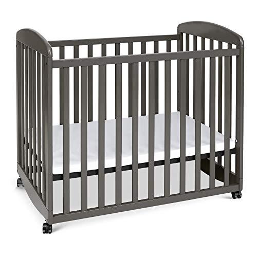 Davinci Alpha Mini Rocking Crib in Slate, Removable Wheels, Greenguard Gold Certified