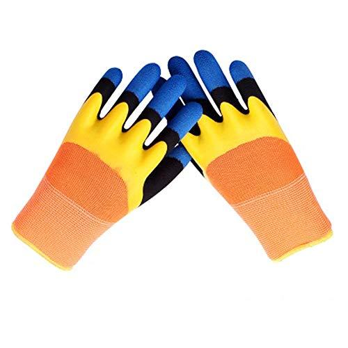 Guantes de Jardinería,5Pares Guantes de Trabajo a prueba de espinas,protectores de engrosamiento de las yemas de los dedos de tres capas,recubierta de látex Guantes ,Lavables a Máquina,Impermeable