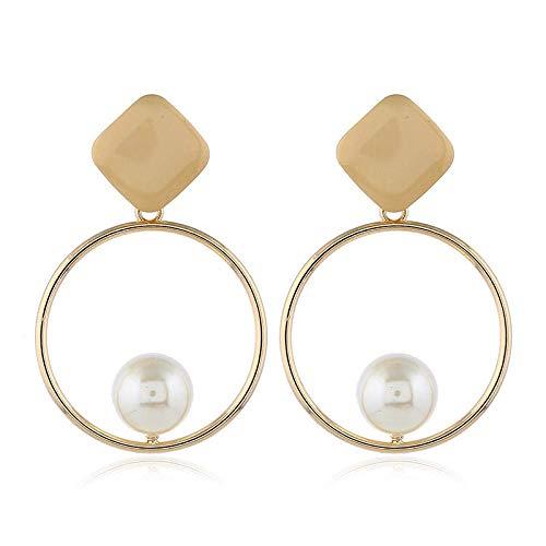 OUHUI Pendientes de Moda para Mujer, Pendientes de Perlas de Imitación de Aleación, Pendientes de Aro de Círculo Grande, Pendientes de Metal para Mujer Retro/A