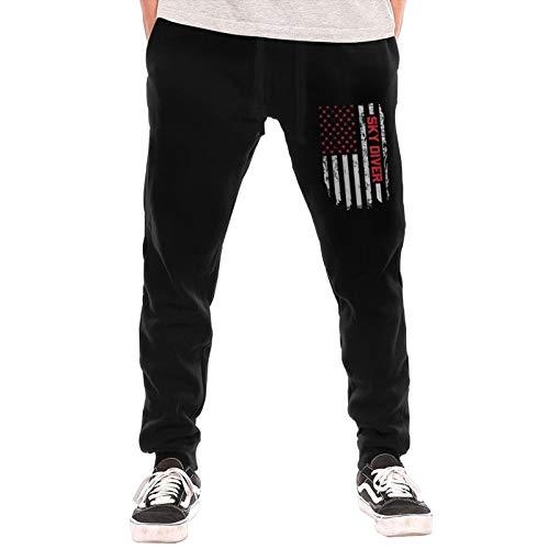 GTUGHDK Skydiving Parachute American Flag Men's Jogger Workout Athletic Pants Gym Pockets Drawstring Long Pants Black