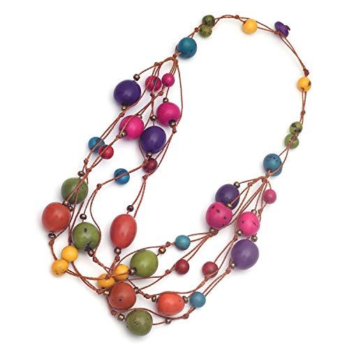 Idin Jewellery - Handgemachte bunte Tagua Nuss und Acai Seed Cord Halskette